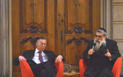 Yaakov Bleich and Aryeh Neier at the Ronny Naftaniel lecture 2016